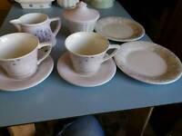 Portmeirion Dawn tea set pretty mauve and white pattern.