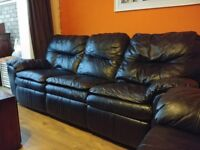 2 and 3 Seater reclining Real Leather Sofas