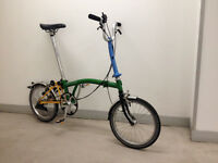 Brompton M3L folding bike Green Blue Yellow and Black just serviced