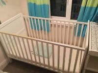 Cot bed, changing table and wardrobe