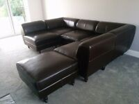 John Lewis Dark Brown Leather Modular Sofa - Any Formation You Want!