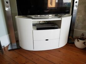 Gloss white oval shaped TV cabinet