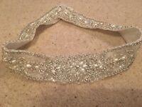 Justin Alexander beaded crystal and pearl floral bridal belt