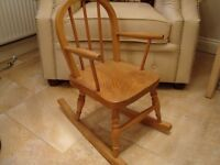 CHILDS SOLID PINE ROCKING CHAIR ONLY £20 FOR QUICK SALE
