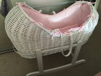 White wicker Noah pod Moses basket. Pink dimple lining with white rocker
