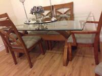 Set of dinning, coffee,side table with 6solid wood chairs