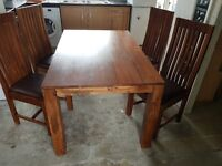 Mango walnut solid wood dinning table and chairs