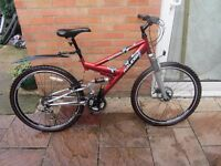 mens raleigh duel susspension mountain bike with lock £59.00