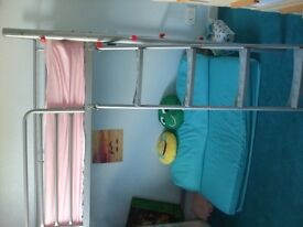 KIDS CABIN BED, SILVER METAL, WITH LADDER