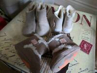 JOB LOT baby fur effect lined booties NEW 2 pairs 0-3 months, 1 pair 3-6 months
