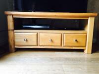 Solid Oak TV Unit with 3 drawers