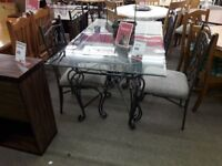 Glass and Metal Dining Table and 4 Chairs