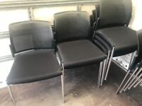 Black Mesh Design Back & Chrome Stackable Chairs