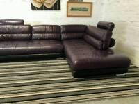 Designer Italian leather corner sofa