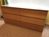Ikea Malm Chest of 6 Drawers (3 by 3 wide) in Oak. Great storage. 160w/49d/77t-cm