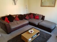 Large corner sofa and footstool for sale