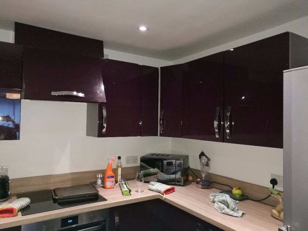 High Gloss Purple Kitchen Cupboard Doors Drawers Plus Handles In