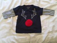 Baby Next Reindeer Christmas jumper / top 3-6 Months