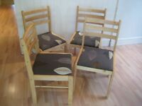 Set of 4 Solid Birch Wood Kitchen / Dining Chairs (Table available) - Very good clean condition