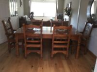 Barker & Stonehouse Java dining table with 6 chairs, including 2 carver style chairs