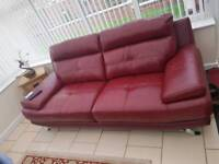 Red sofa and footstool