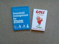 Men's book bundle - golf and housekeeping help. £3 both