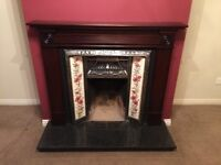 Mahogany fireplace with granite hearth