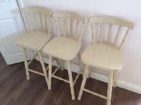 Kitchen stools, wooden painted cream