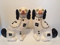 Pair Of Large Wally Spaniel Fireside / Mantle Dogs Black & White Good Condition Antique