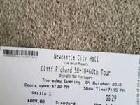 Cliff Richards Tickets x 2 City Hall Newcastle 4 Oct