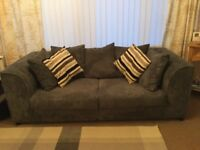 Grey Cord Sofas, 3 seater L x 190cm and W x 87cm, 2 seater L x 155cm and W x 87cm, collection only.