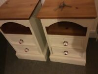 Pair of Solid Pine Lockable Bedside Cabinets