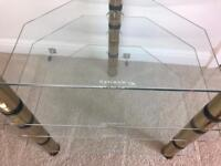Optimum hifi stand 4 glass shelves with gold