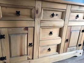Pine wood dresser table cabinet