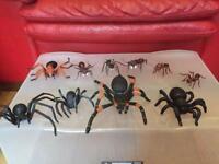 Plastic toy spiders & ants