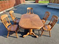 Large Dining Table (Extendable) & 5x Chairs