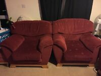 FREE red sofa, two armchairs and a footstool