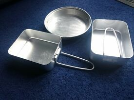 Unused, aluminium mess tin set for camping