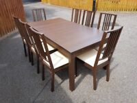 Ikea Bjursta Brown Extending Table 175cm - 260cm & 8 Borje Chairs FREE DELIVERY 726