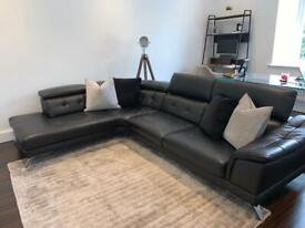 Sofology Black Leather Corner Sofa