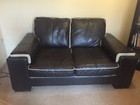 DFS 3 piece leather suite - sofas and footrest