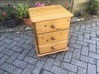 3 drawer Pine bedside table