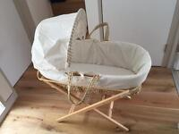 Lovely padded moses basket with stand and mattress in great condition