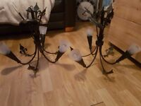 2 light fittings black iron with all fityings