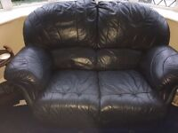 Blue 2 seater leather sofa for sale