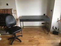 Grey Ikea Alex computer desk & office chair