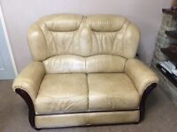 3 piece leather suite - 2 seater sofa and 2 chairs