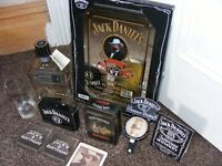 Jack Daniels collectables. New Mirror, tin of sealed cards, bottle,tin,optic, glass and 3 drip mats.