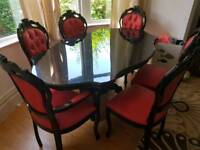 Gorgeous leather and wood dining table and spring bouncy chairs Italian Vintage