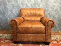 STUNNING CHESTERFIELD TAN ANILINE LEATHER STUDDED ARMCHAIR